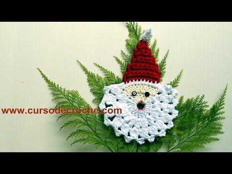 Passo a Passo Papai Noel em Crochê para barrados ou aplique - YouTube
