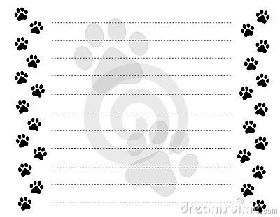 free Lined Paper With Borders | Paw Prints Border Royalty Free ...