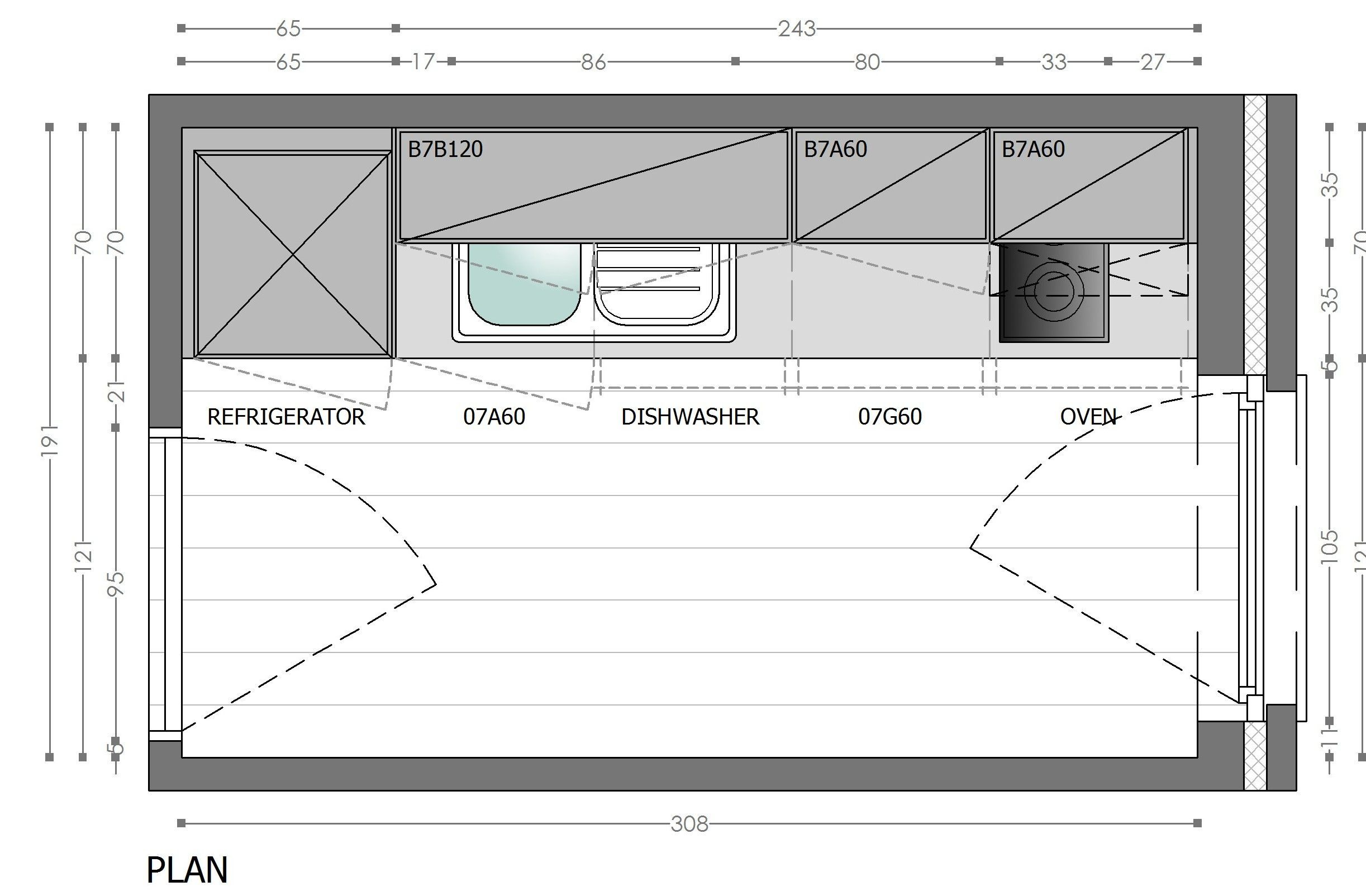 kitchen plan from twicemice.com   Kitchen layout plans, One wall ...