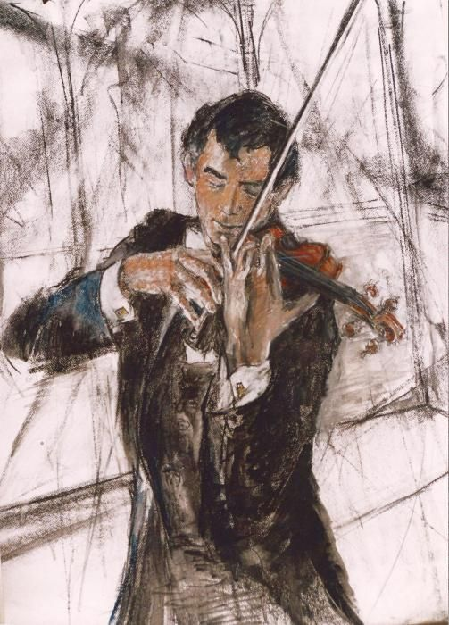 Violinist by Debora Cardaci - drawing - Charcoal And Chalk