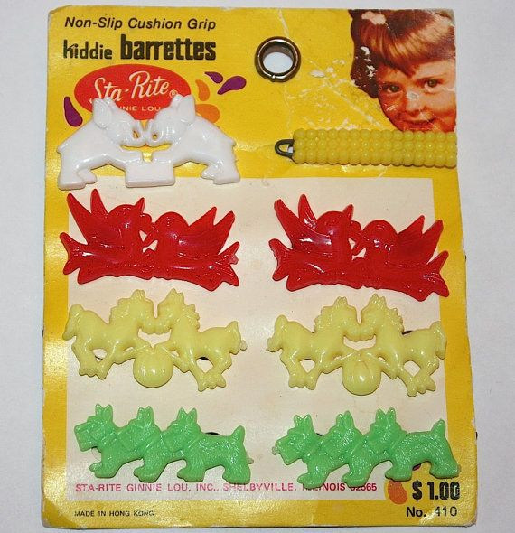 Vintage Plastic Animal And Bow Hair Barrettes By