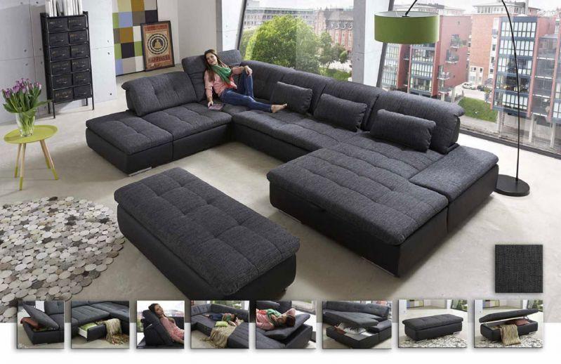 Lomo von Megapol Wohnlandschaft granite schwarz Polstermöbel online - big sofa oder wohnlandschaft