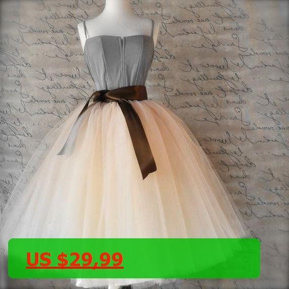 5bff7ca95bf 7 Layers Midi Tulle Skirts Womens Fashion TUTU Skirt Elegant Wedding Bridal  Bridesmaid Skirt Lolita Petticoat