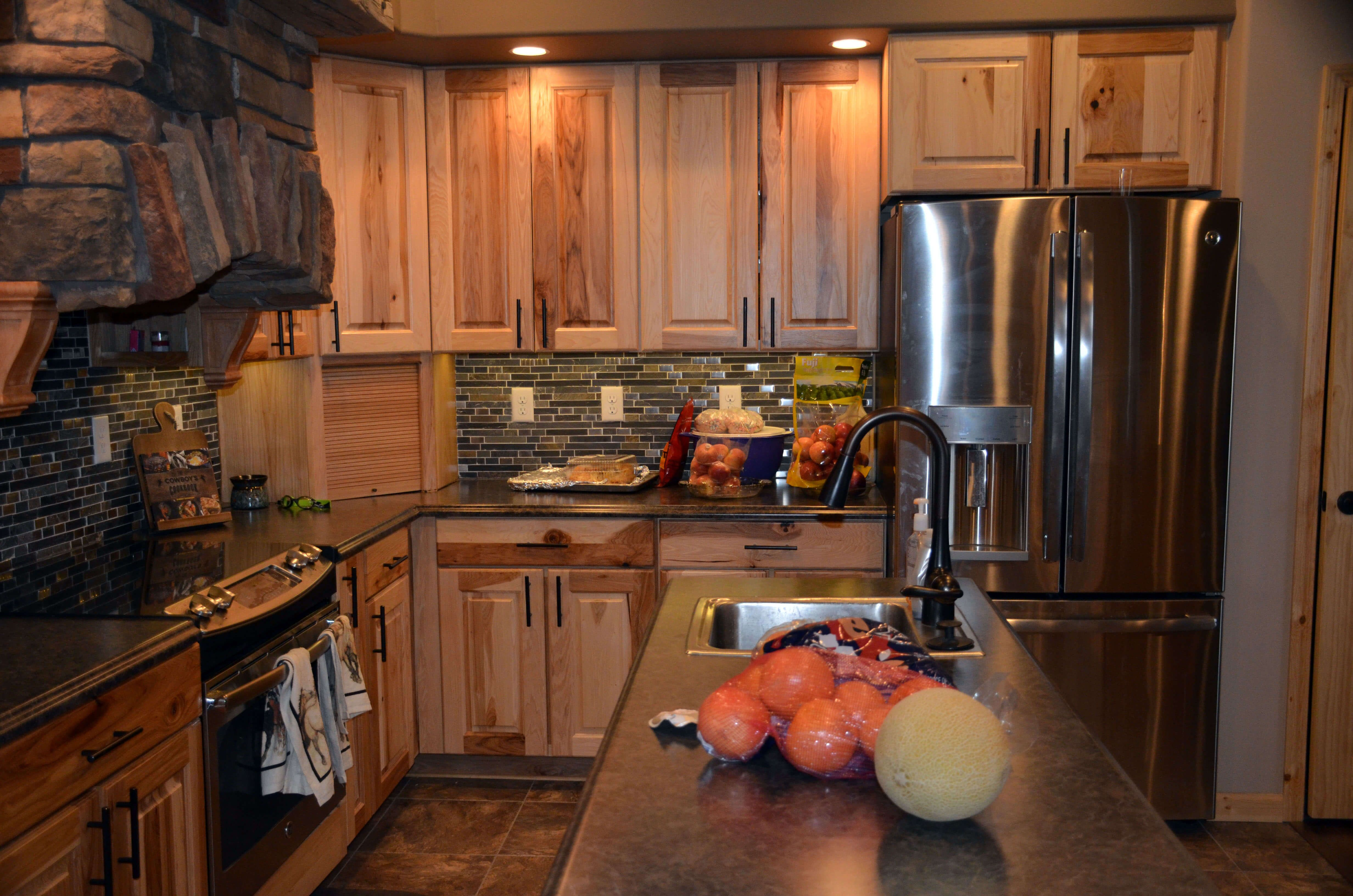 - Rustic Hickory Duncan Cabinets W/Natural Finish, Stacked Stone