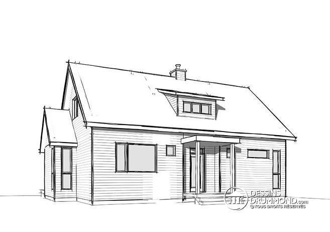 W3988 - Maison de style fermette moderne à aire ouverte avec foyer