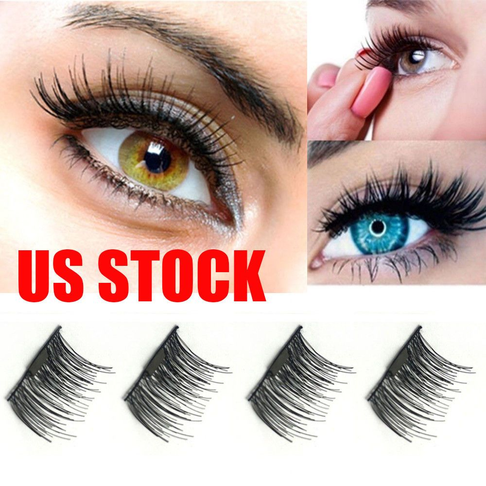 0437fa2a323 4pc/Pair Magnetic Eyelashes 3D Handmade Reusable False Magnet Eye Lashes  Make-up | eBay
