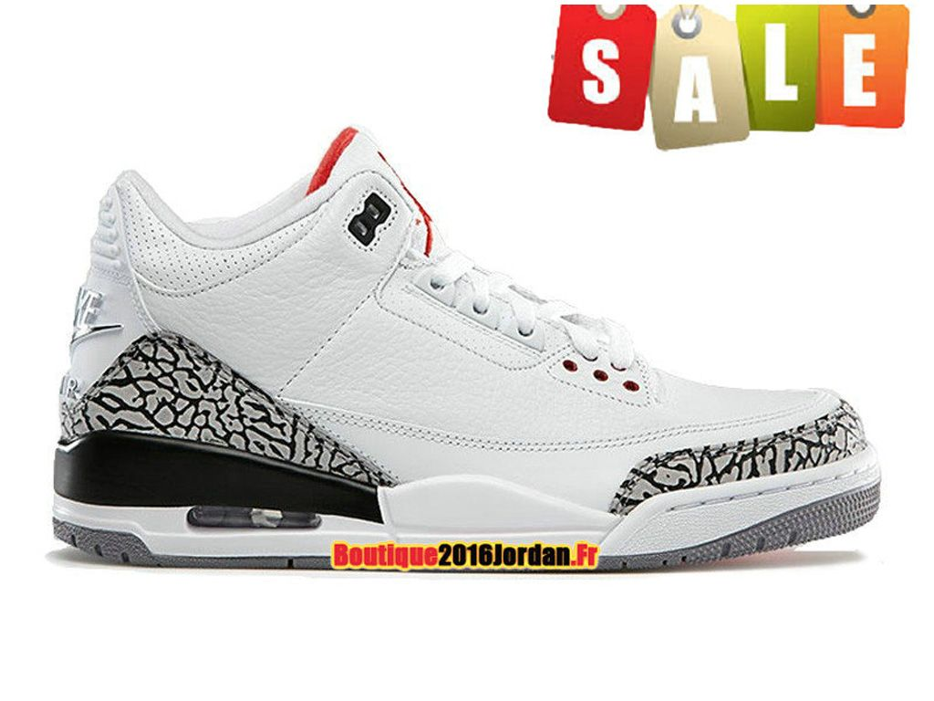 check out 90392 b5fe2 Air Jordan 3 Retro - Chaussure Nike Air Jordan Pas Cher Pour Homme  Blanc Gris Noir 136064-105