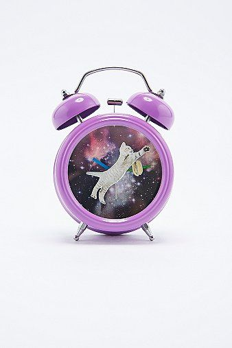 Cat in Space Alarm Clock in Purple - Urban Outfitters