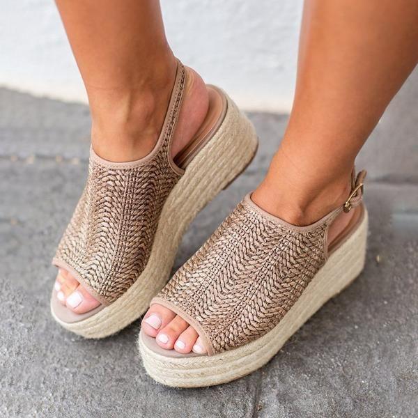 4fd92d3137c Wedges – Elegchic. kattystory Platform Peep Toe Weaving Sandals ...