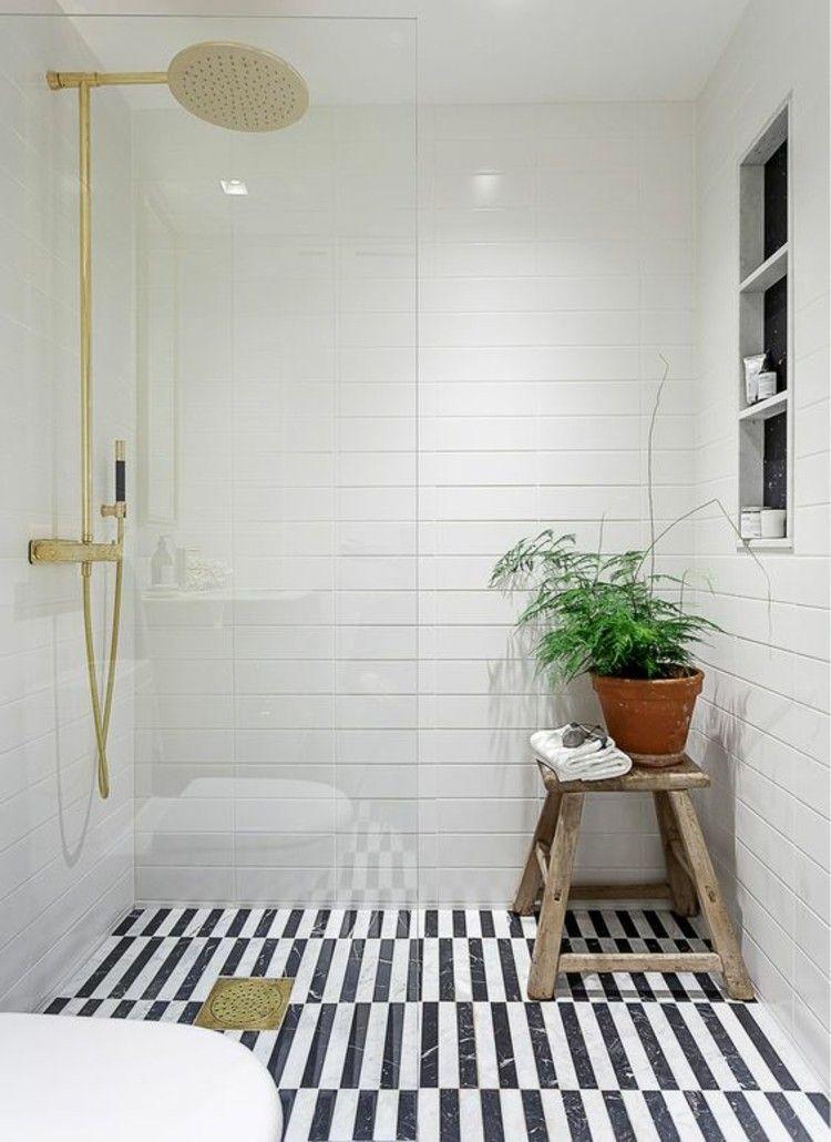 Nice Wohnungseinrichtung Ideen Badezimmer Fliesen Schwarz Weiß Streifen  Badfliesen
