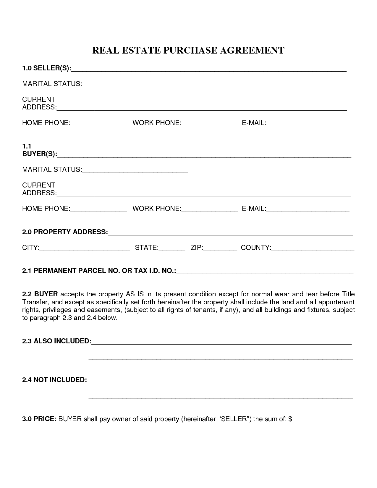 Home Purchase Agreement Form Template Real Estate Contract Purchase Agreement Purchase Contract