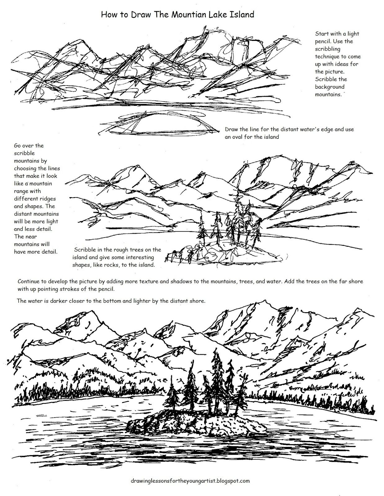 A Free Printable Worksheet For How To Draw A Mountain Lake
