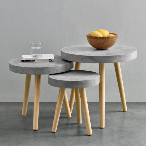en-casa-Couchtisch-3er-Set-Beton-grau-Beistelltisch-Beistell-Tisch - Moderne Tische Fur Wohnzimmer