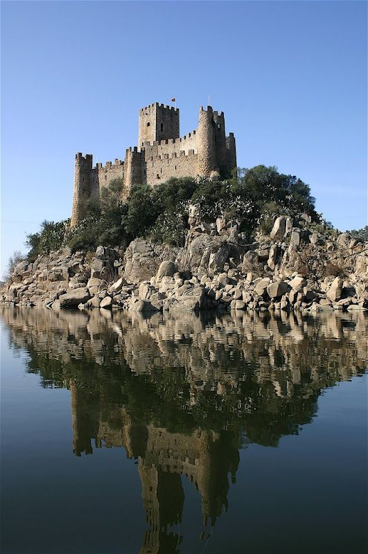 Almourol castle - a tinny island in the middle of Tagus River  Portugal
