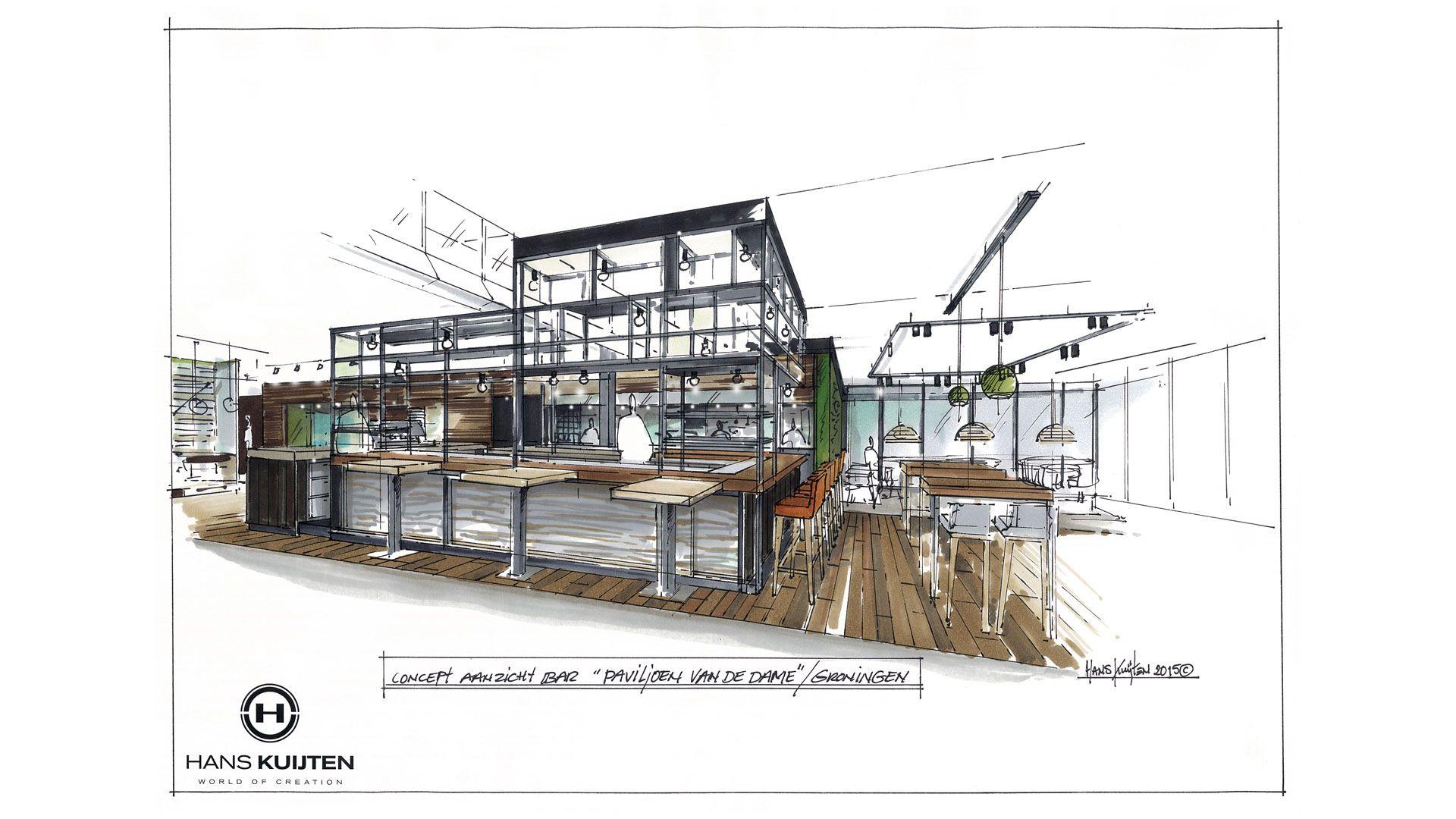Paviljoen van de Dame   COMM1  RESTAURANT   Interior design sketches