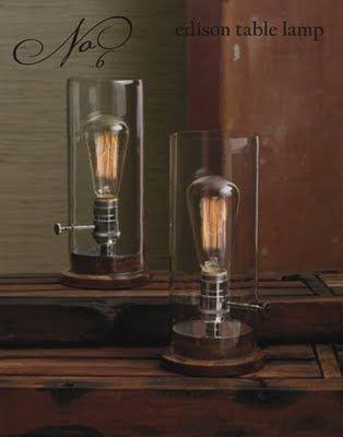 Exposed Light Bulb Lamps Edison Light Bulbs Industrial Table