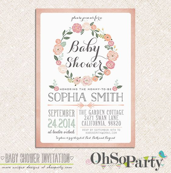 Etsy の Adore Baby Custom Baby Shower Invitation Card By Ohsoparty