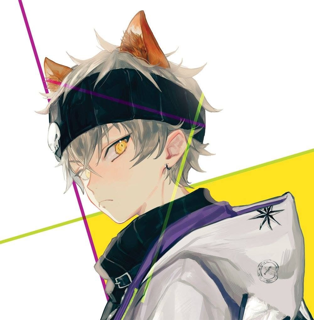 Anime Guy White Hair Yellow Orange Eyes Animal Ears Casual Anime Guys Anime Boy Anime