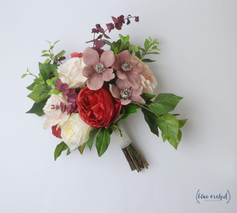 Wedding Bouquet Silk Flower Flowers Bridal Boho