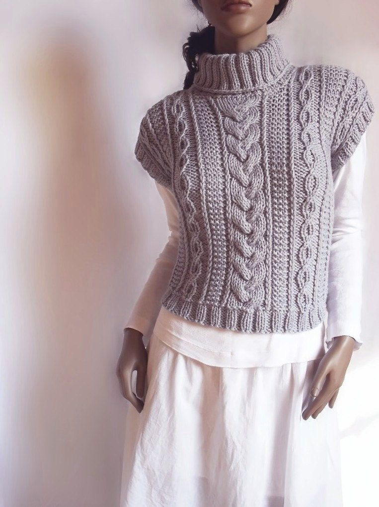 Women's Cable Knit Sweater Turtleneck Vest Waistcoat Short Sleeve ...