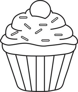 Cupcake outline. Clipart sprinkles single cupcakery