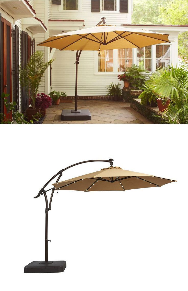 This 11 Ft Offset Led Patio Umbrella Is Generously Sized To Block The Sun S Rays All Day Long Solar Cell On Top Of Charges Throughout