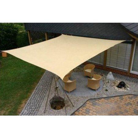 Square 18x18 Ft Sun Sail Shade Cover   Tan: Patio, Lawn U0026 Garden