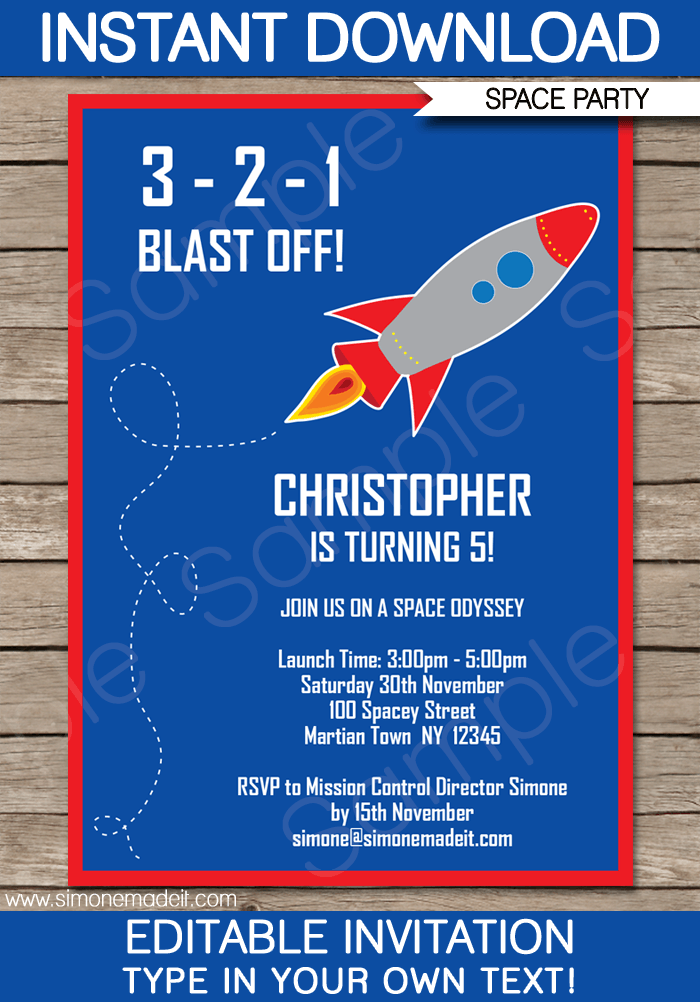 Space Rocket Party Invitations Template | Space rocket, Party ...