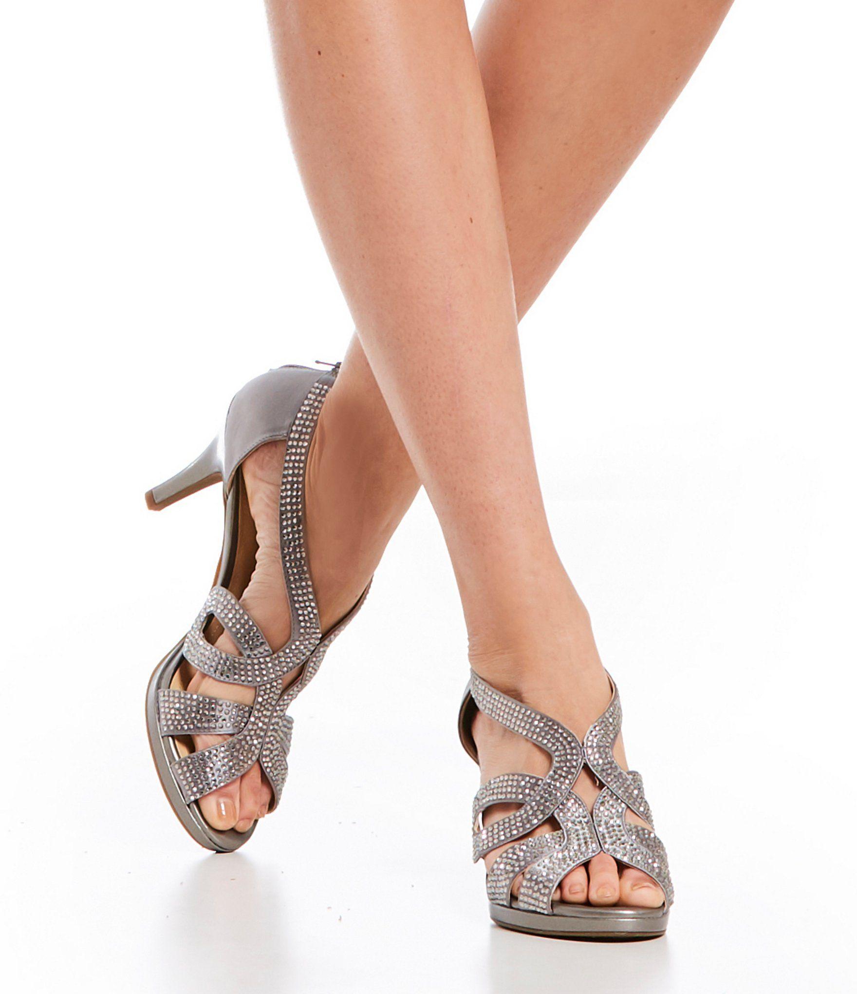 Dayten Rhinestone-Embellished Satin Dress Sandals uFAsZOT