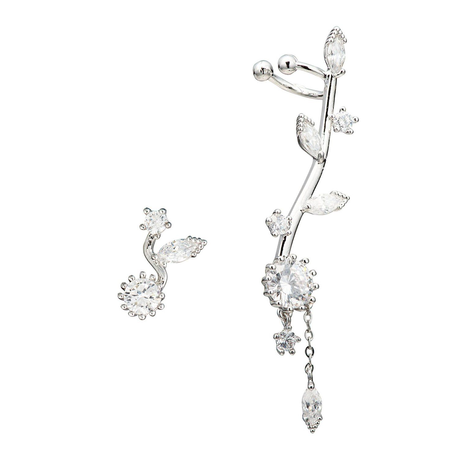CZ Crystal Sun Flower Sweep up Left Ear Cuffs Earrings Stud Set Silver Tone ** You can find out more details at the link of the image.