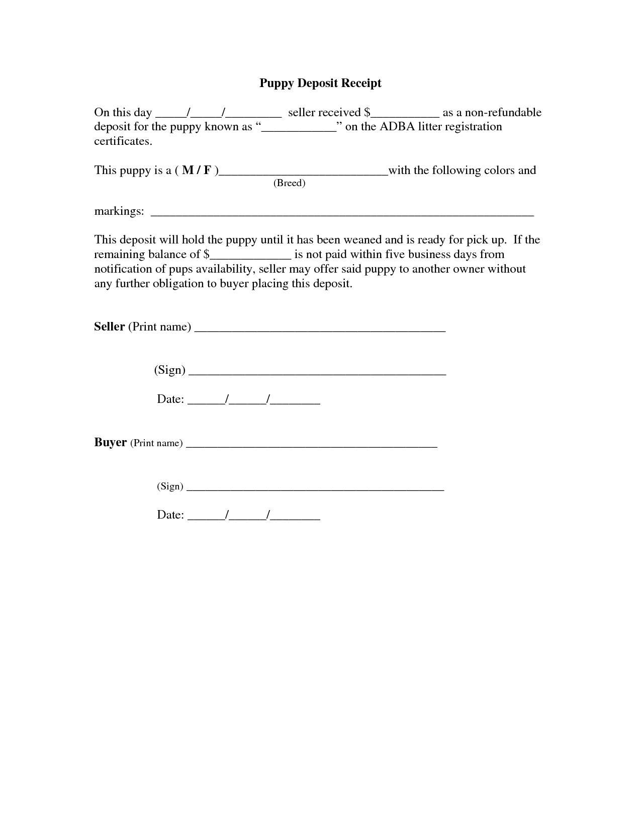 Of car deposit agreement template car sale deposit for Car deposit contract template