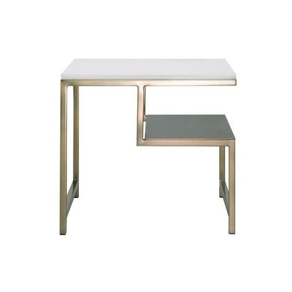 Nook With Shelf Occasional Table In Marble Gold Colour Freedom