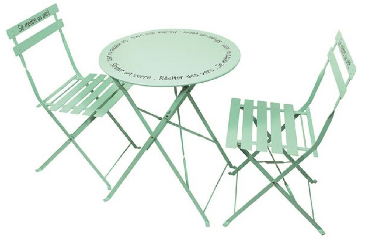 set de table et chaises de jardin avec