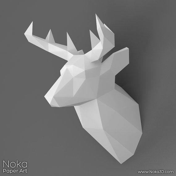 Deer Head Trophy - 3D papercraft model. Downloadable DIY template ...