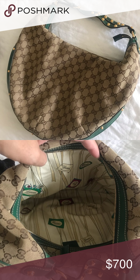 03498d55157e36 100%AUTHENTIC Gucci Green Leather Gold Studded Bag Gucci Monogram Canvas  White Leather Gold Studded Shoulder Hobo Bag Purse Slightly worn 100%  Authentic ...
