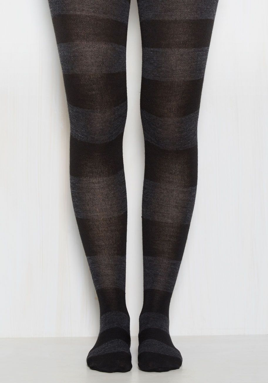 87f37b0832775 Striping Resemblance Tights in Black. If you dream about delightful style  all day and night, then these tights might feel familiar! #black #modcloth