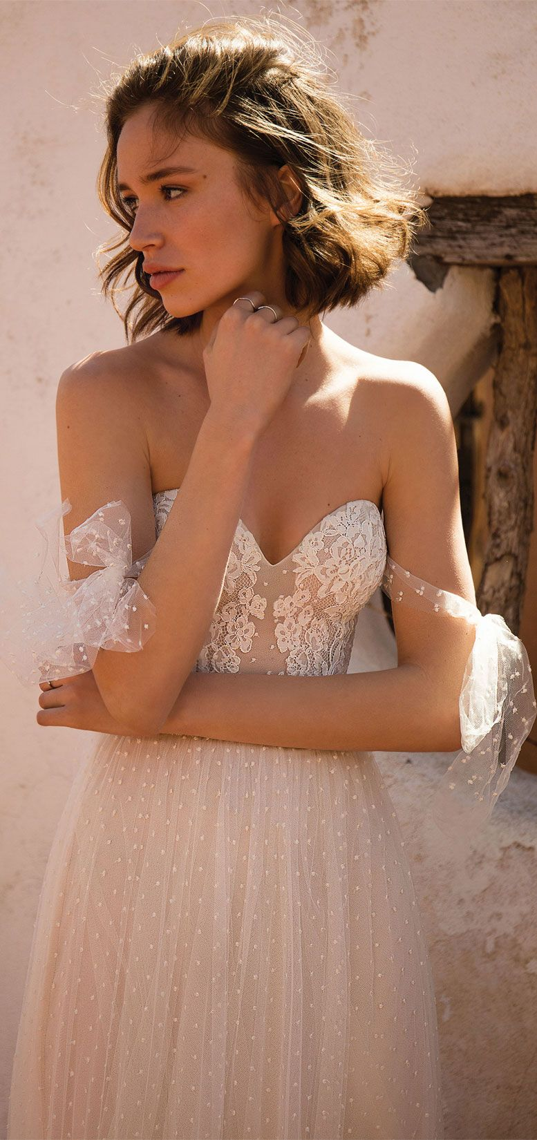 Flora Bride - Siren Of The Desert 2019 Bridal Collection, boho wedding dress, bohemian wedding gown ,a-line wedding dress,sweetheart neckline wedding gown with detachable bow sleeves  #wedding #weddingdress #weddinggown #bridedress