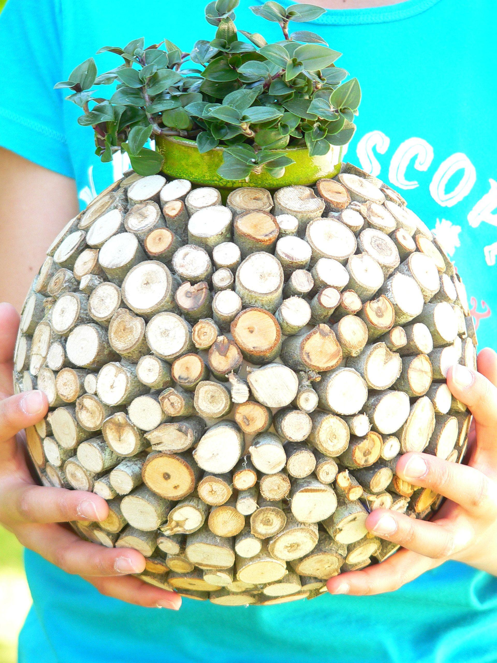 Wood Slice Planter For Succulentes Mini Plant Wooden Vase Rustic