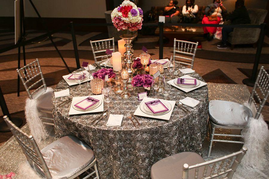wedding reception table design ideas nashville, purple and gray ...