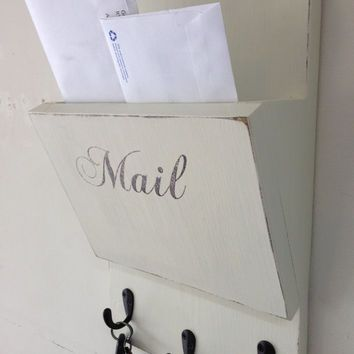 shabby chic wood hanging mail organizer and key rack wall mail