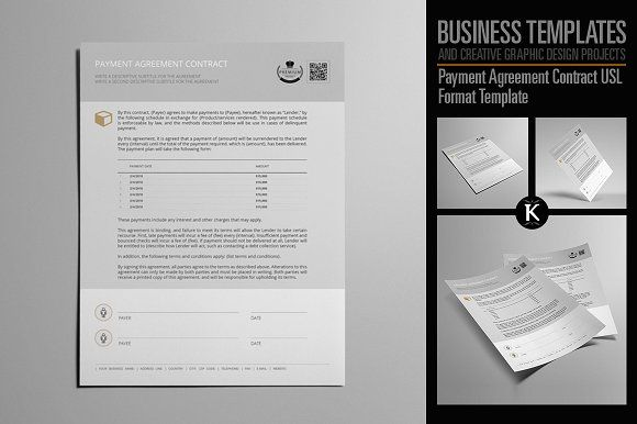 Payment Agreement Contract USL by Keboto on @creativemarket - sample forbearance agreement