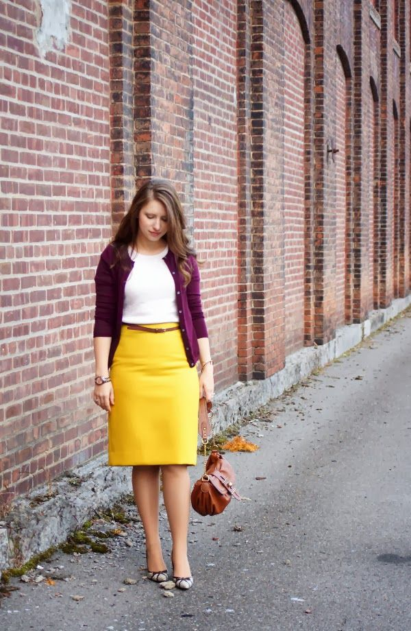 45abd1ed30 Happy Medley:Mustard and wine color, J.Crew skirt, cardigan, fall fashion