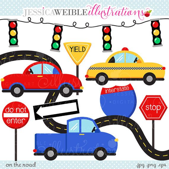 On The Road Cute Digital Clipart Commercial Use Ok Car Clipart