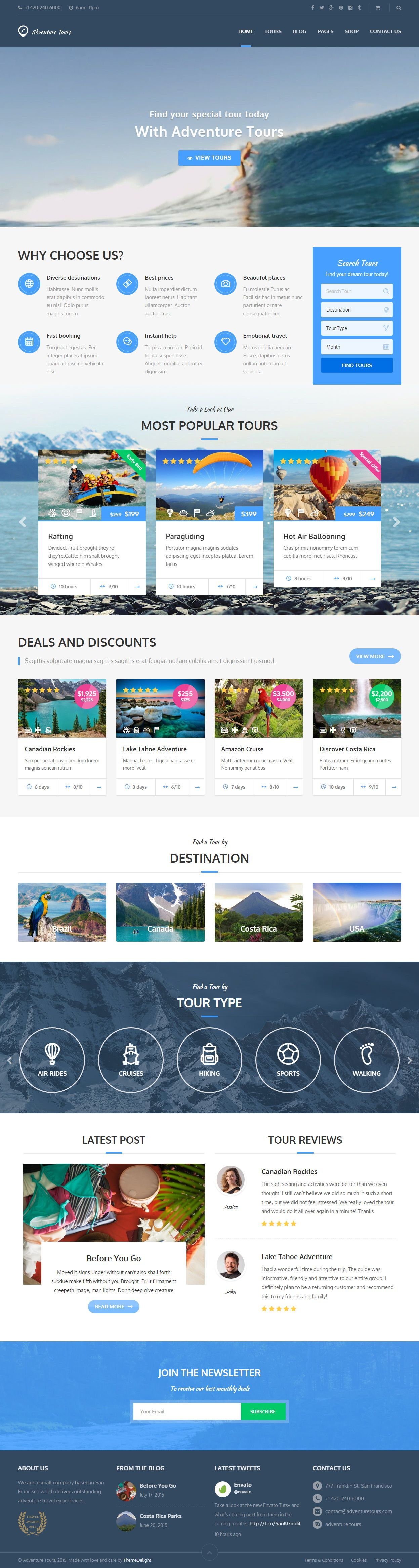 Adventure Tours Premium Responisve WordPress Travel Theme