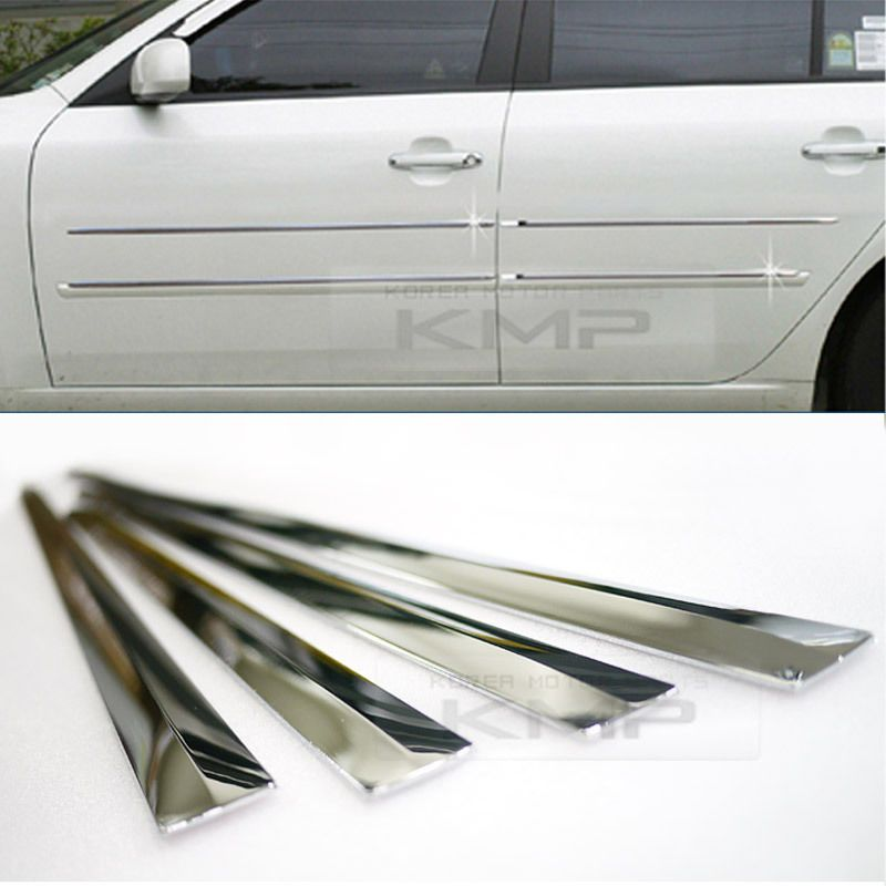 Cool Nice Awesome Chrome Side Skirt Door Line Sill Cover Molding Garnish Trim 4Pcs for TOYOTA CAr Contemporary - Style Of door skirting Elegant