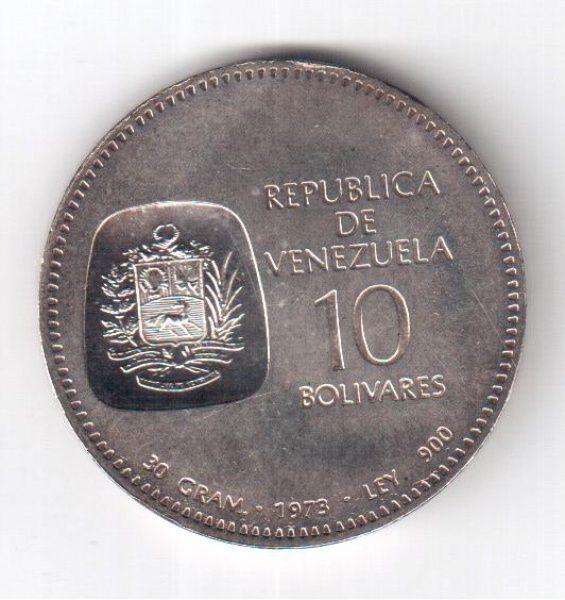 Moeda De Prata Venezuela 1973 Simon Bolivar 30g Moedas