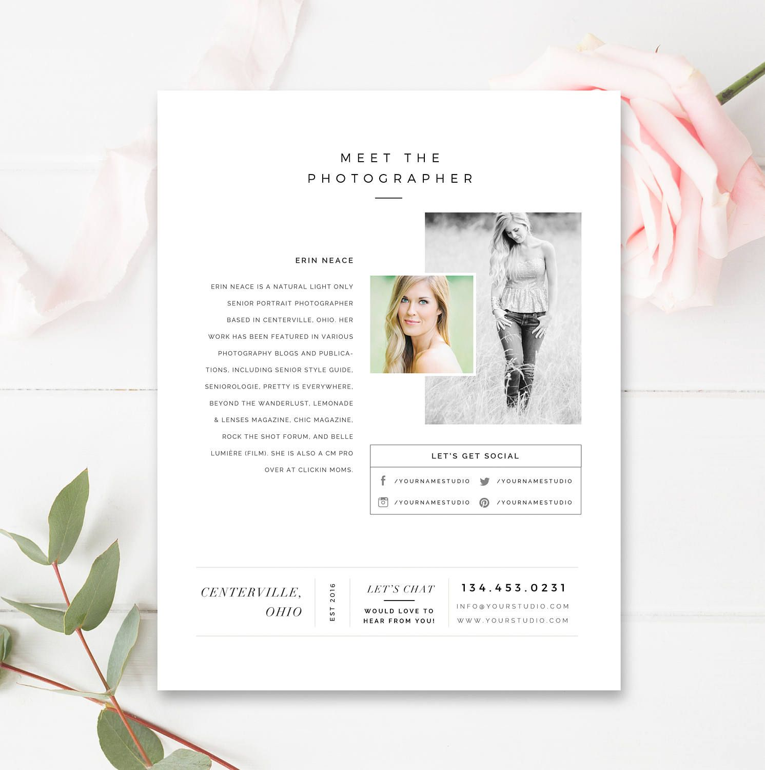 About Me Page Template For Photographers Photography Etsy Photo Marketing Templates Photography Templates Marketing Photos