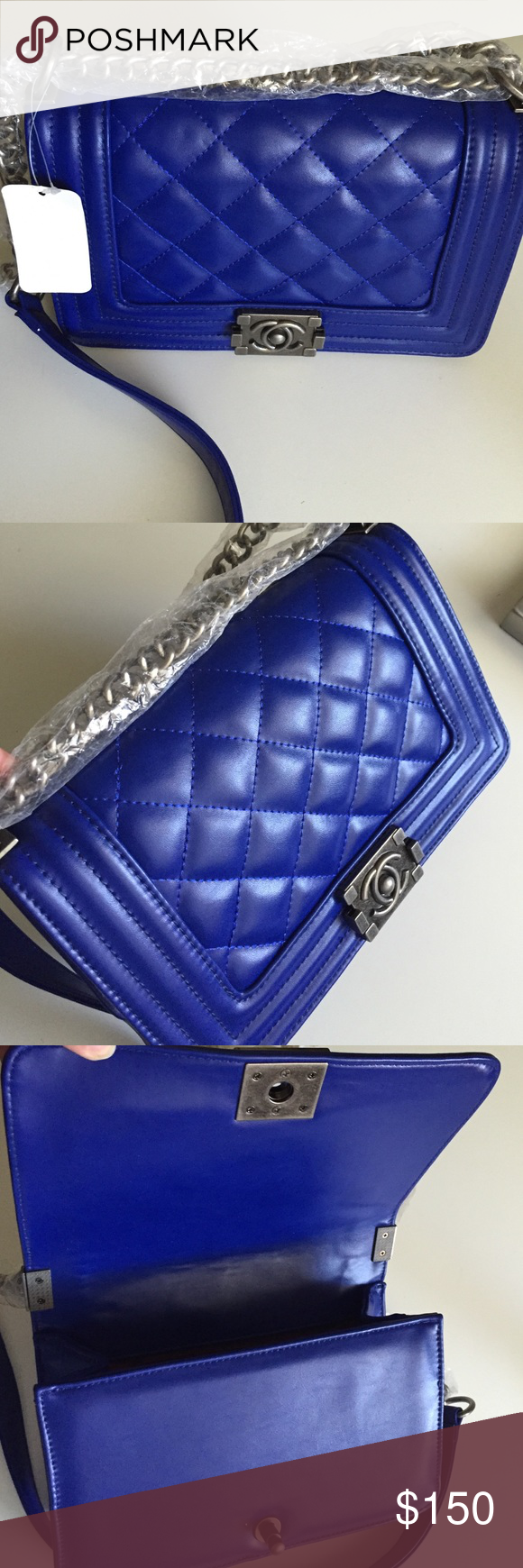 """Quilted bag - this bad boy is gorgeous! NWT NWT Quilted bag - Electric Blue - Boy this is beautiful! Gunmetal chain strap and hardware. Faux leather/Vegan - 10""""x7"""" brand new Bags Shoulder Bags"""