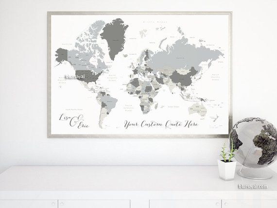 Custom quote PRINTABLE world map with country names US states