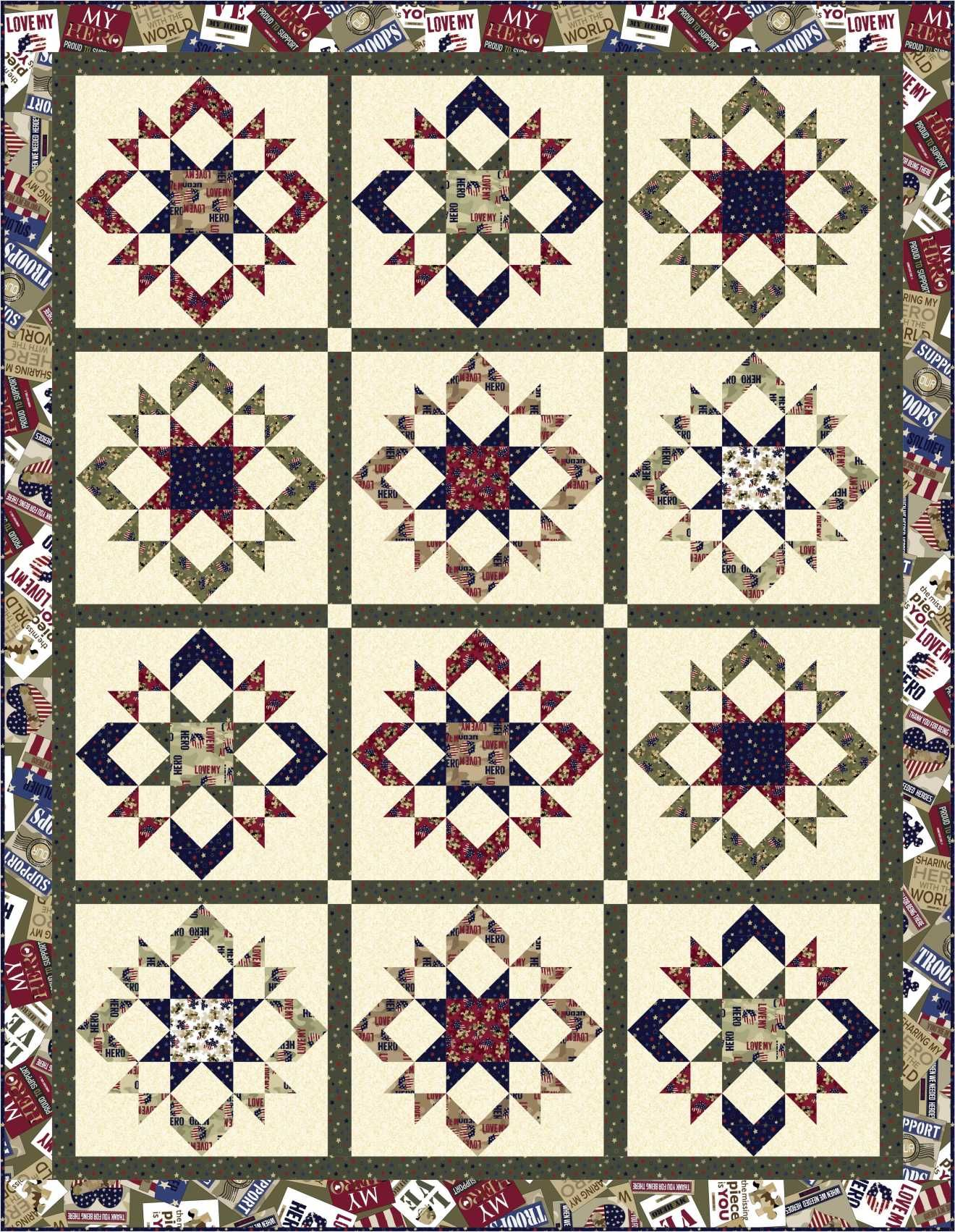 FREE PATTERN Love My Hero Quilting Treasures quilts